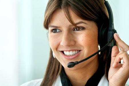 customer support operator woman smiling - isolated over white