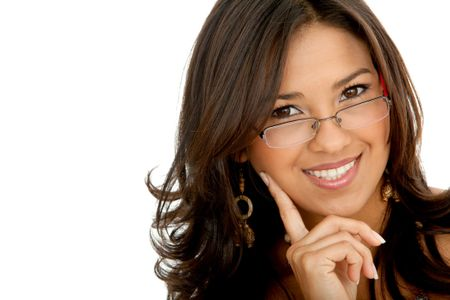 Business woman portrait with glasses isolated over a white background