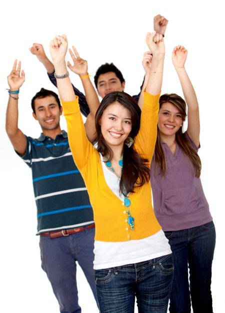 Excited group of young people isolated over a white background