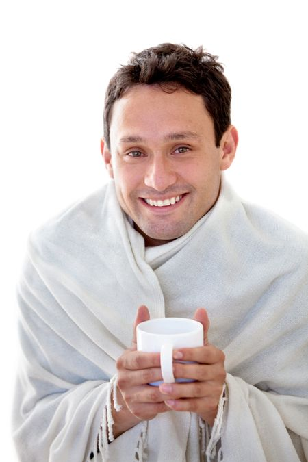 Man with a cold isolated over a white background