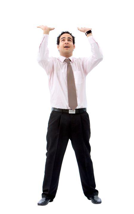 business man pushing something up isolated over a white background