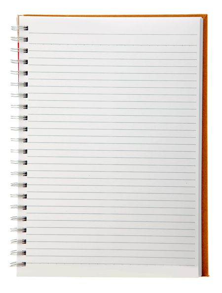 Orange notebook isolated over a white background