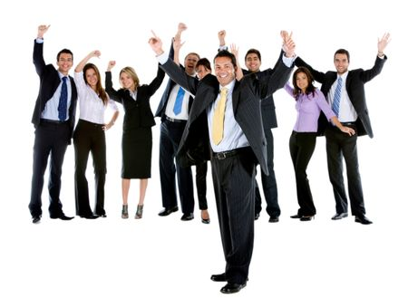 Excited business group isolated over a white background