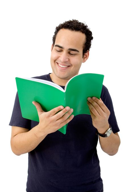 Man reading a book isolated over a white background