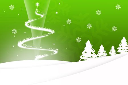 Christmas tree background in green with snowflakes