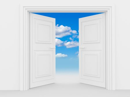 illustration of a double door with a blue sky and some clouds
