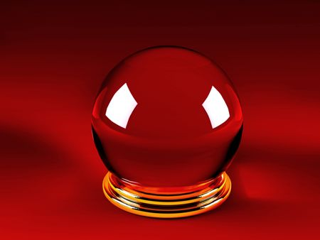 Magic crystal ball over a red background