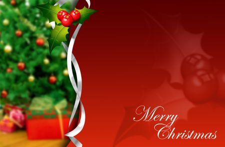 Merry Christmas background with a tree and mistletoe