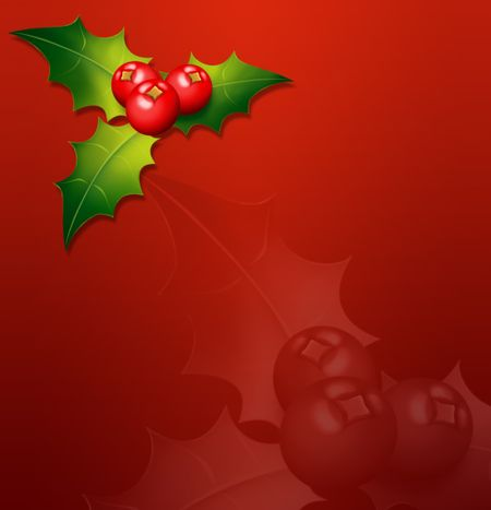 Christmas illustration on red that can be used as background