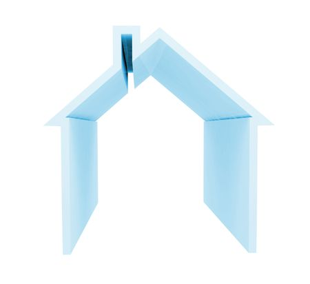 House in blue isolated over a white background