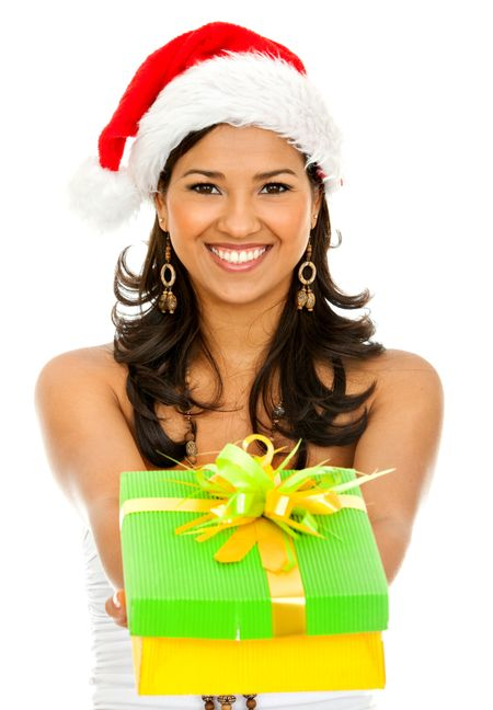 Santa woman giving a gift isolated over a white background