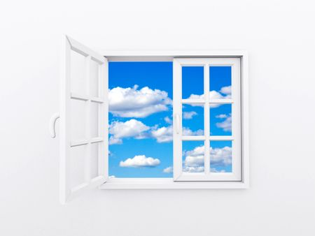 White window opening showing a blue sky