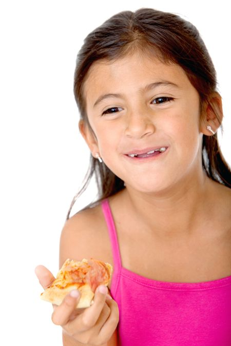 Happy kid eating pizza isolated on white