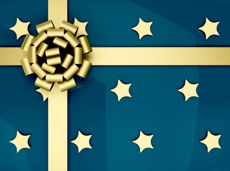 Christmas present wrapped in blue with golden stars and ribbon