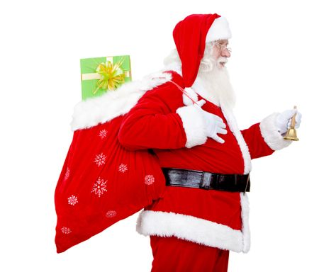 Santa with a gift's bag isolated over a white background