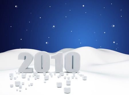 2010 over a snowy landscape - new year concepts