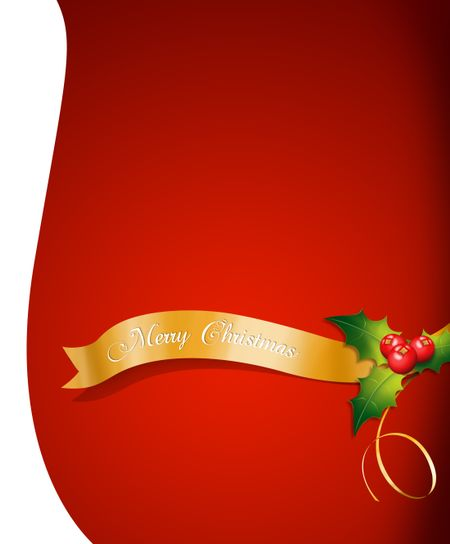 Red Merry Christmas greeting card with mistletoe