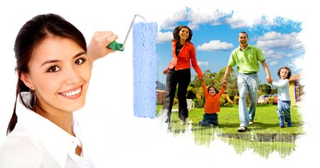 beautiful woman painting a family with a roller - isolated over a white background