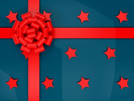 Blue wrapped gift with stars and a red ribbon