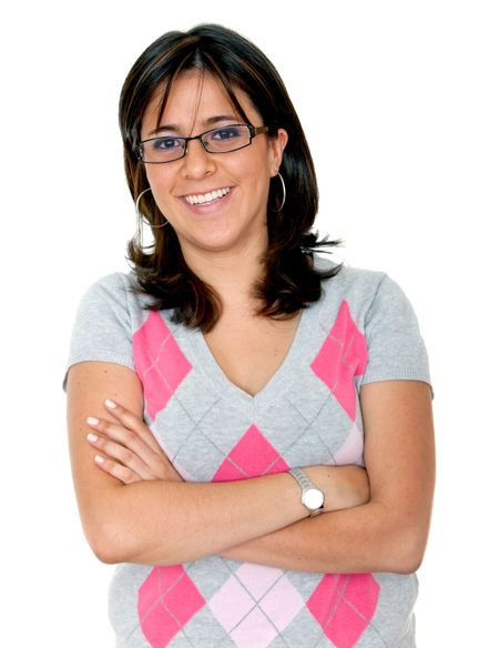 Woman with glasses smiling isolated over a white background