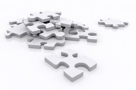 Pieces of a puzzle isolated over a white background