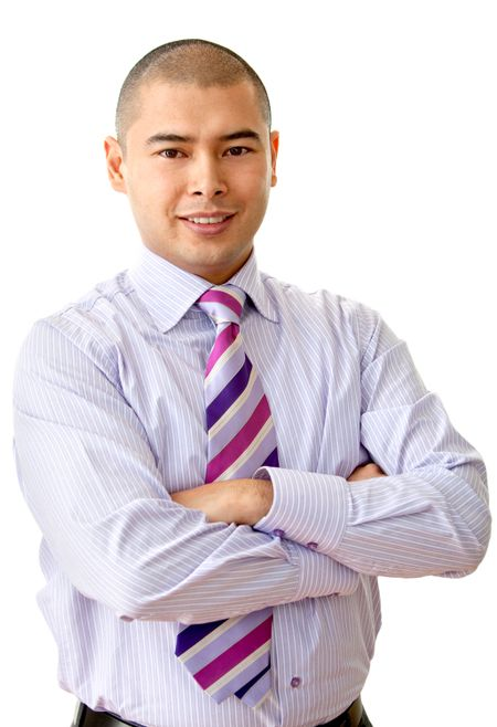 Friendly business man portrait smiling over a white background
