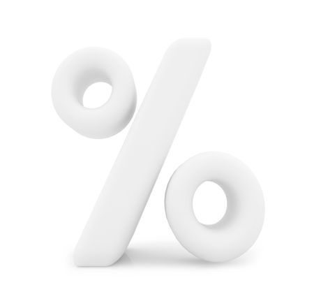 3D percent symbol isolated over a white background