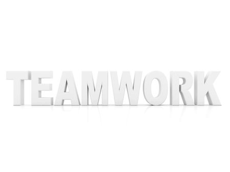 Word teamwork on 3D isolated on white