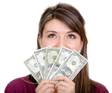 Casual happy woman with lots of money on her hands - isolated over white