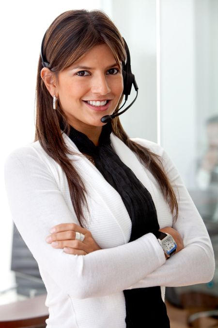 Beautiful customer support operator woman looking happy