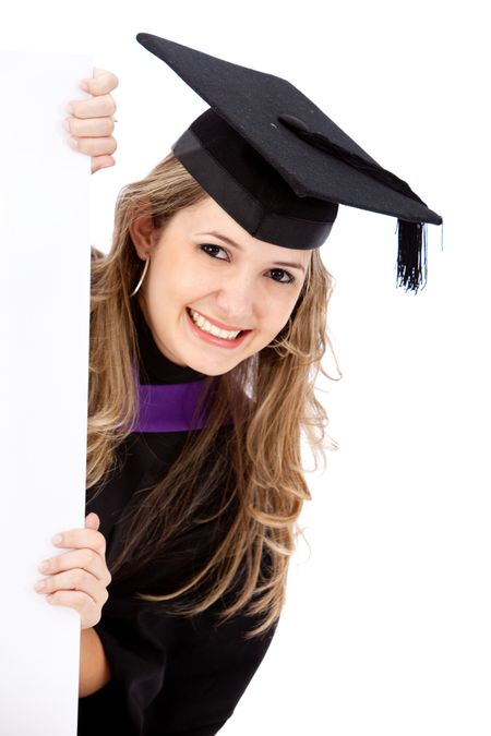 Graduation woman portrait smiling and holding a banner isolated on white