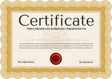 Orange Certificate or diploma template. Cordial design. Easy to ...
