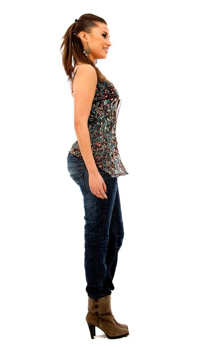 Fullbody casual woman isolated over a white background