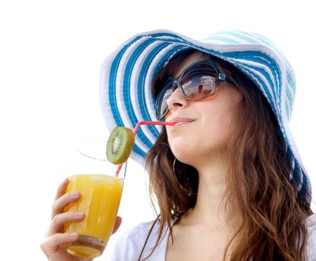 Summer woman drinking a fruit coktail isolated