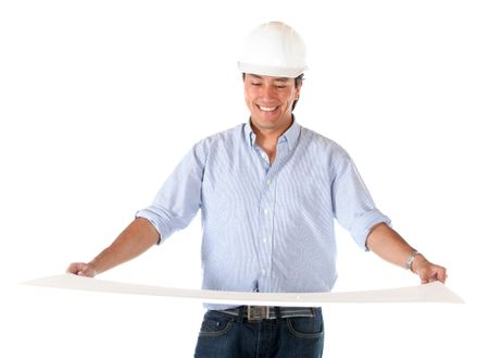 Architect holding a model isolated over a white background