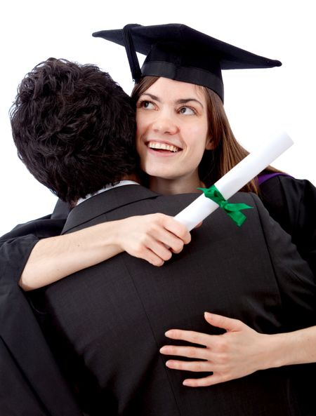 Female graduate hugging a man and celebrating - isolated