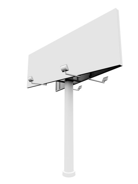 Big billboard with lights isolated over a white background