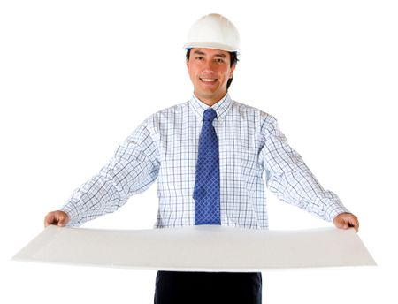 Handsome engineer holding a model isolated on white