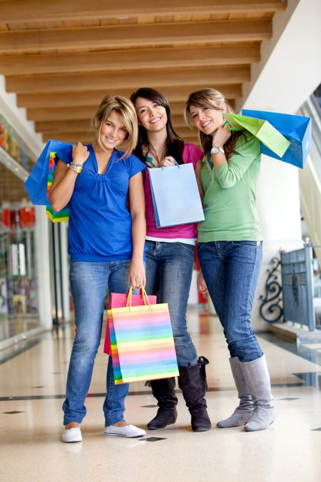 Group of women with bags at a shopping center