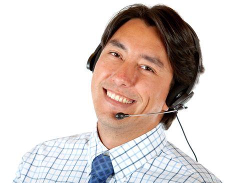 customer service representative man isolated over white