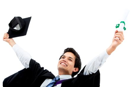 Excited male graduate celebrating isolated over a white background