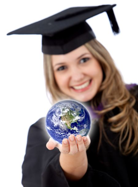 Female graduate with the world in her hands isolated over white