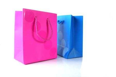 blue and pink gift bags