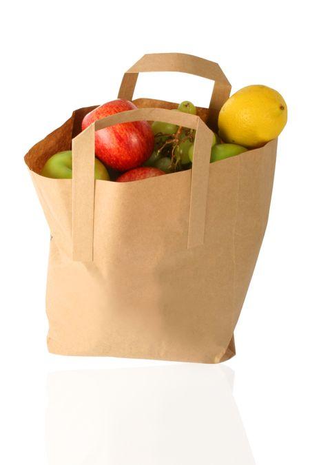 shopping bag full of fruits