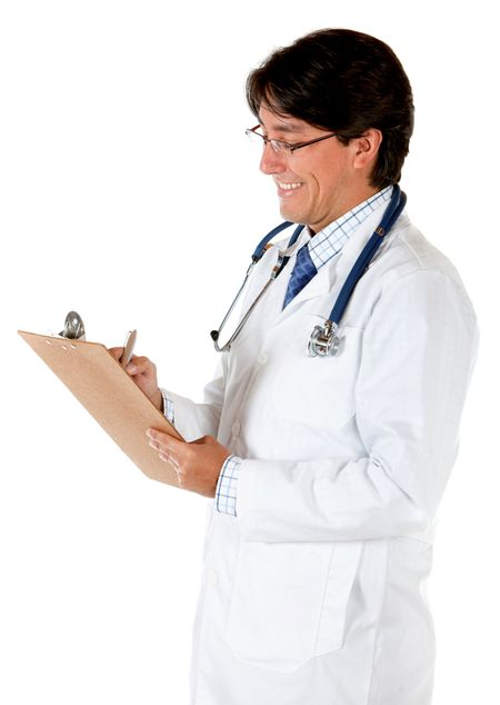 Doctor writing on a clipboard isolated over a white background