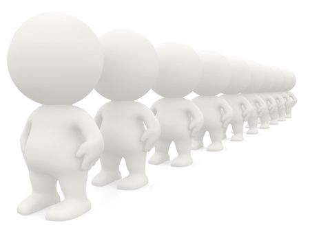 3D men standing in line isolated over a white background