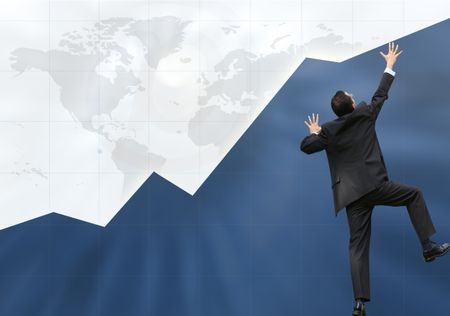 business graph with business man climbing it up