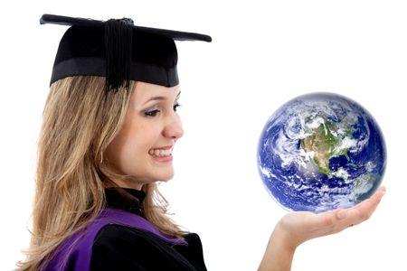 graduation woman holding globe on her hand