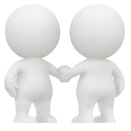 3D men handshaking isolated over a white background