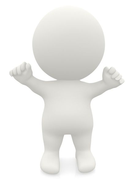 Excited 3D man with arms up isolated over a white background